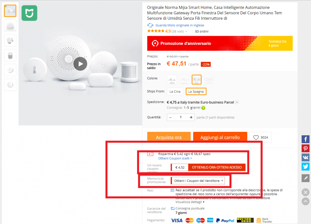 coupon aliexpress venditore